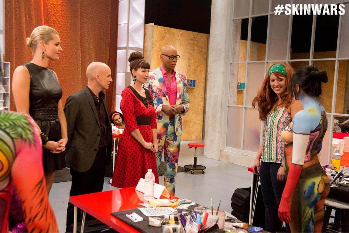 Skin-Wars-Jury-Judges-Craig-Tracy-RuPaul-Rebecca-Romijn-GSN